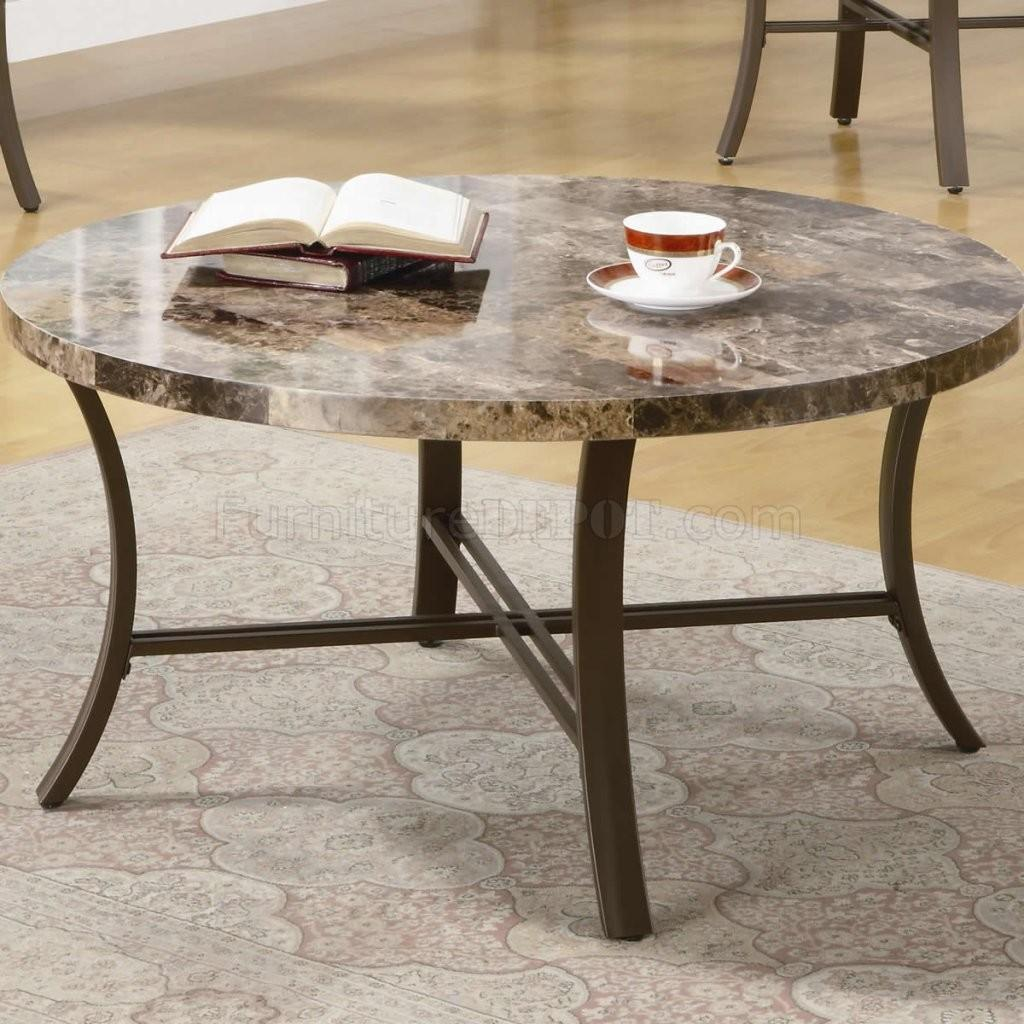Round Metal Coffee Table Marble Top Med Art Home Design