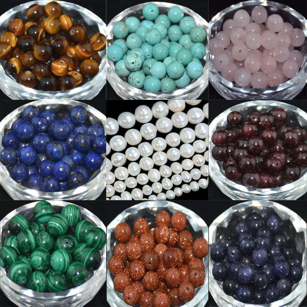 Round Natural Spacer Stone Loose Beads Jewelry Making