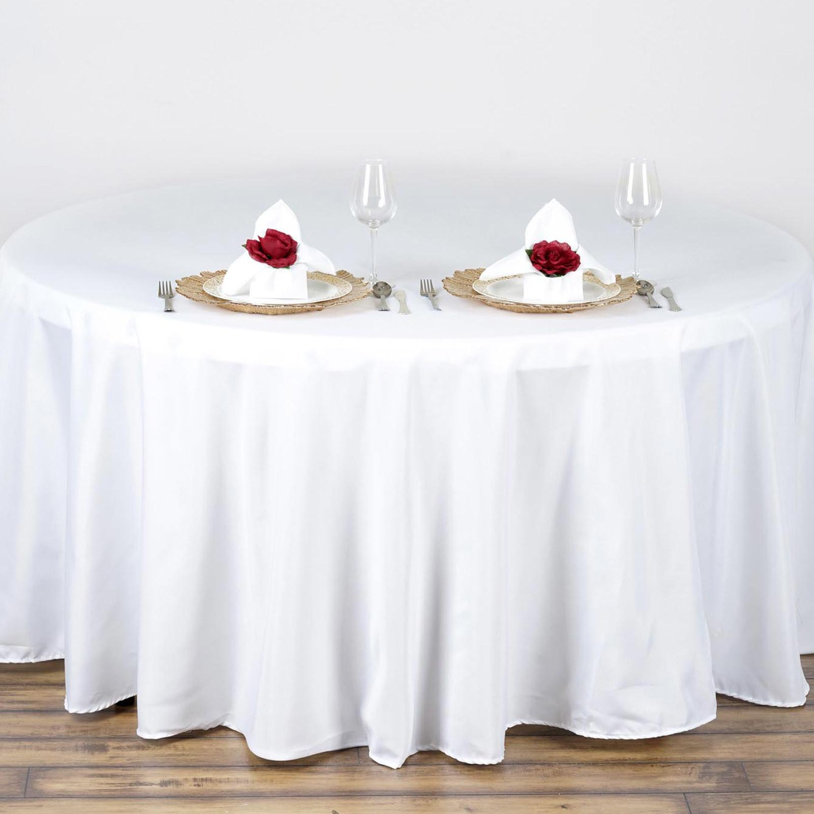 Round Polyester Tablecloth Wedding Party Table Linens