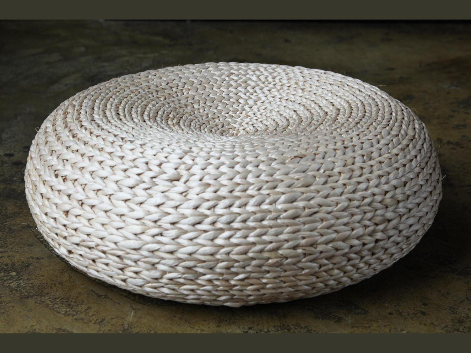 Round Rustic Floor Cushions Pouf Straw