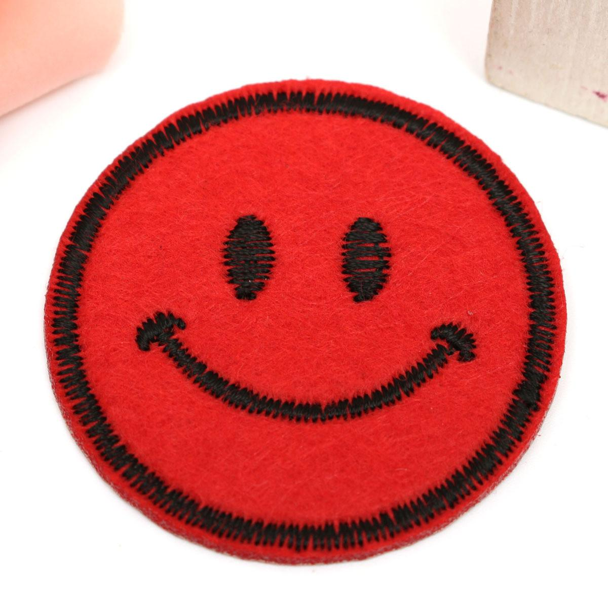 Round Smile Embroidery Diy Fabric Sticker Patch