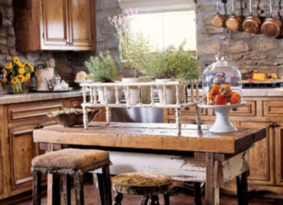 Round Table Stone Wall Dining Room Rustic