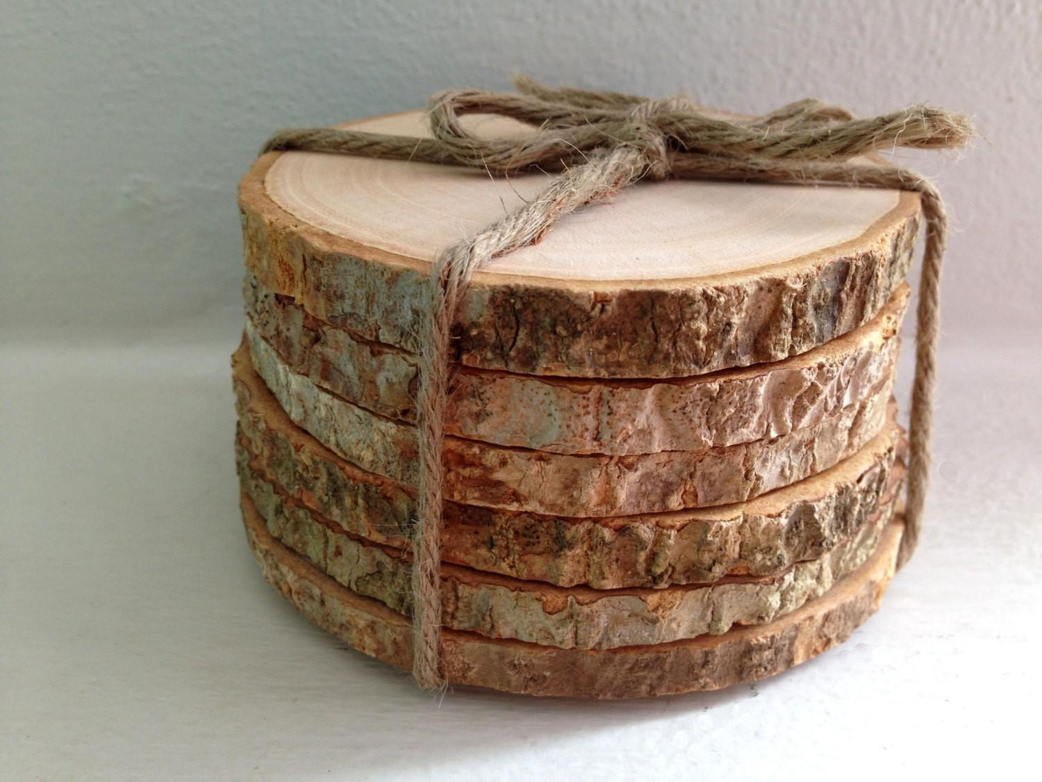 Round Wood Coasters Rustic Wooden Slice