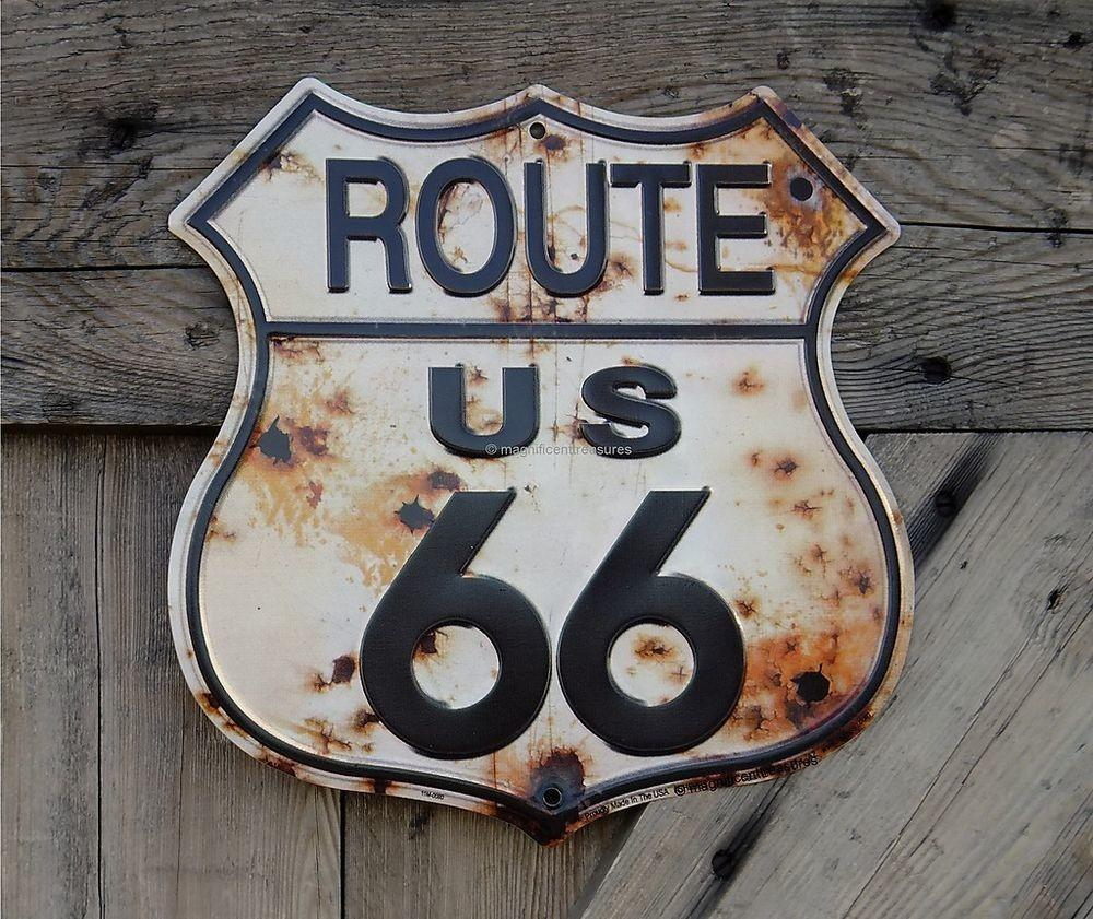 Route Road Highway Shield Rust Bullet Holes Tin