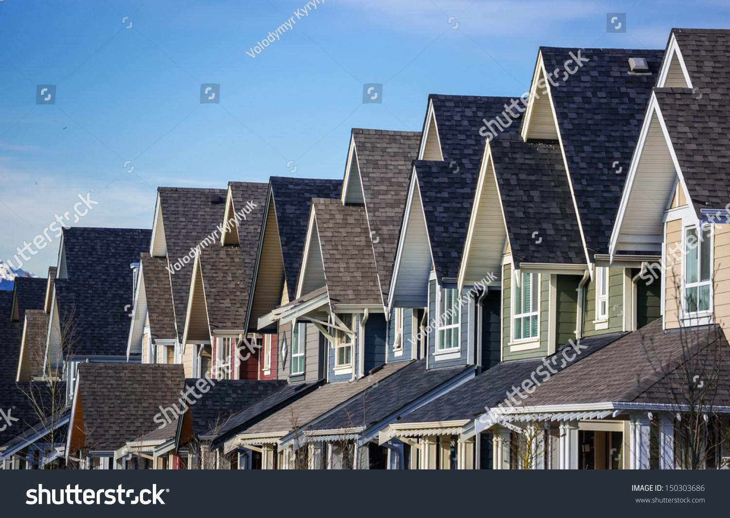 Row Modern Townhouses Vancouver Canada Stock