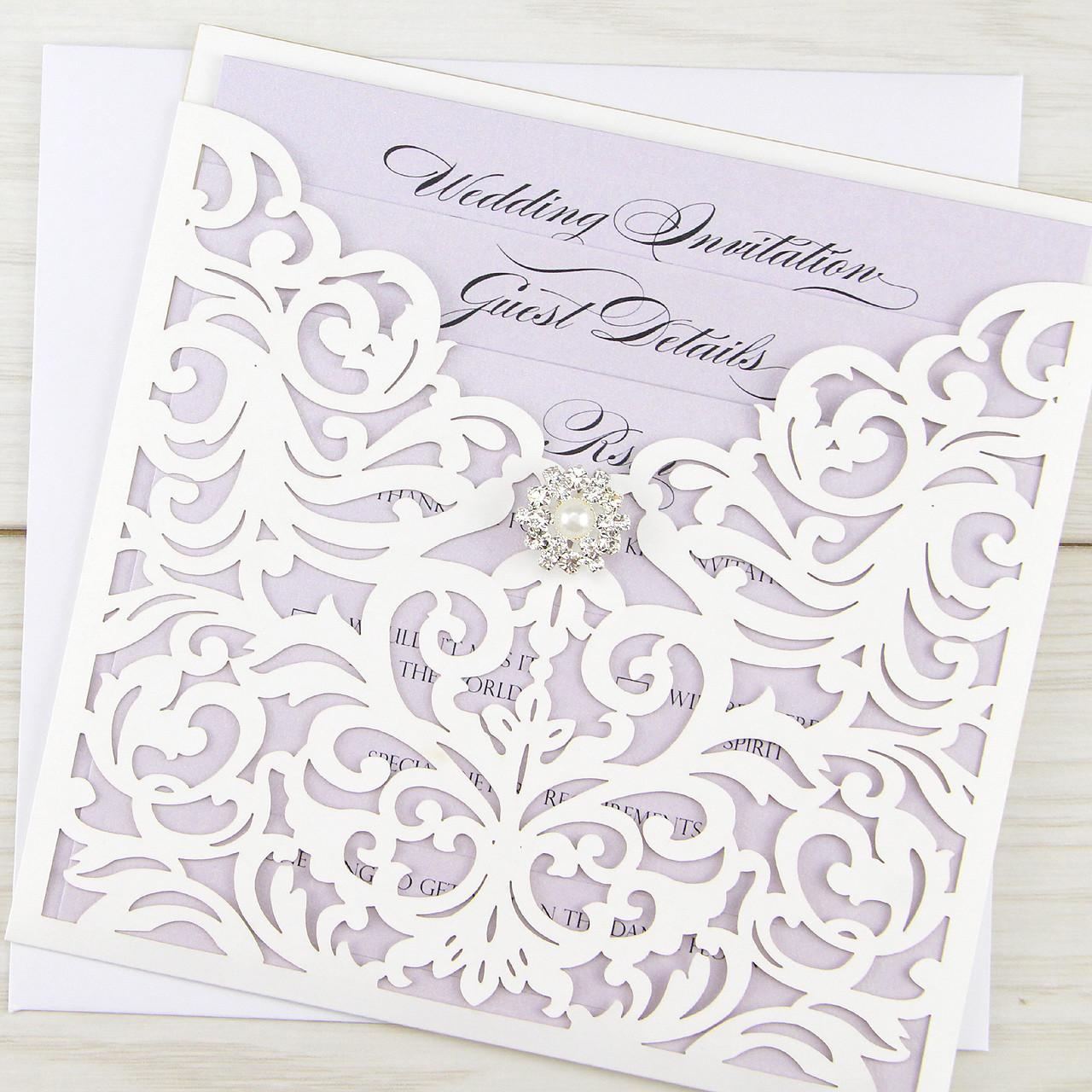 Ruby Laser Vintage Diamante Pure Invitation Wedding