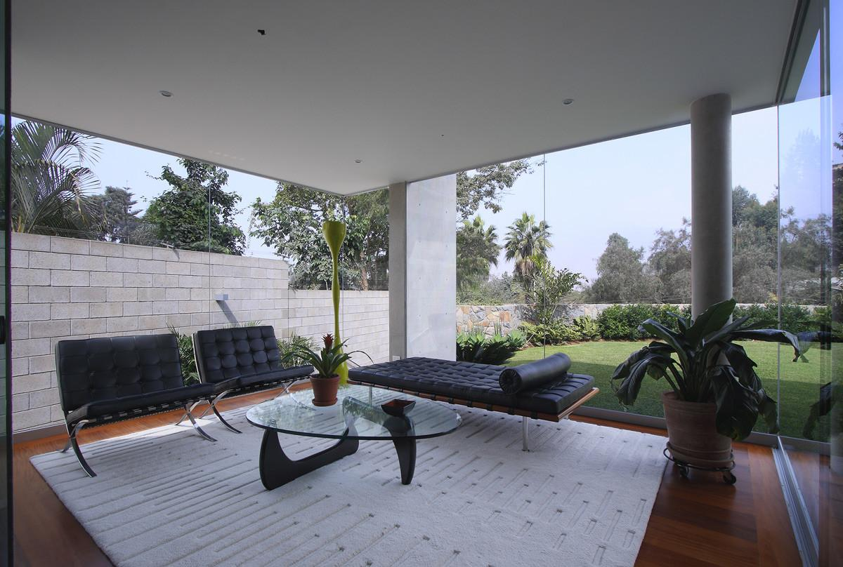 Rug Chairs Glass Walls Living Space Family Home