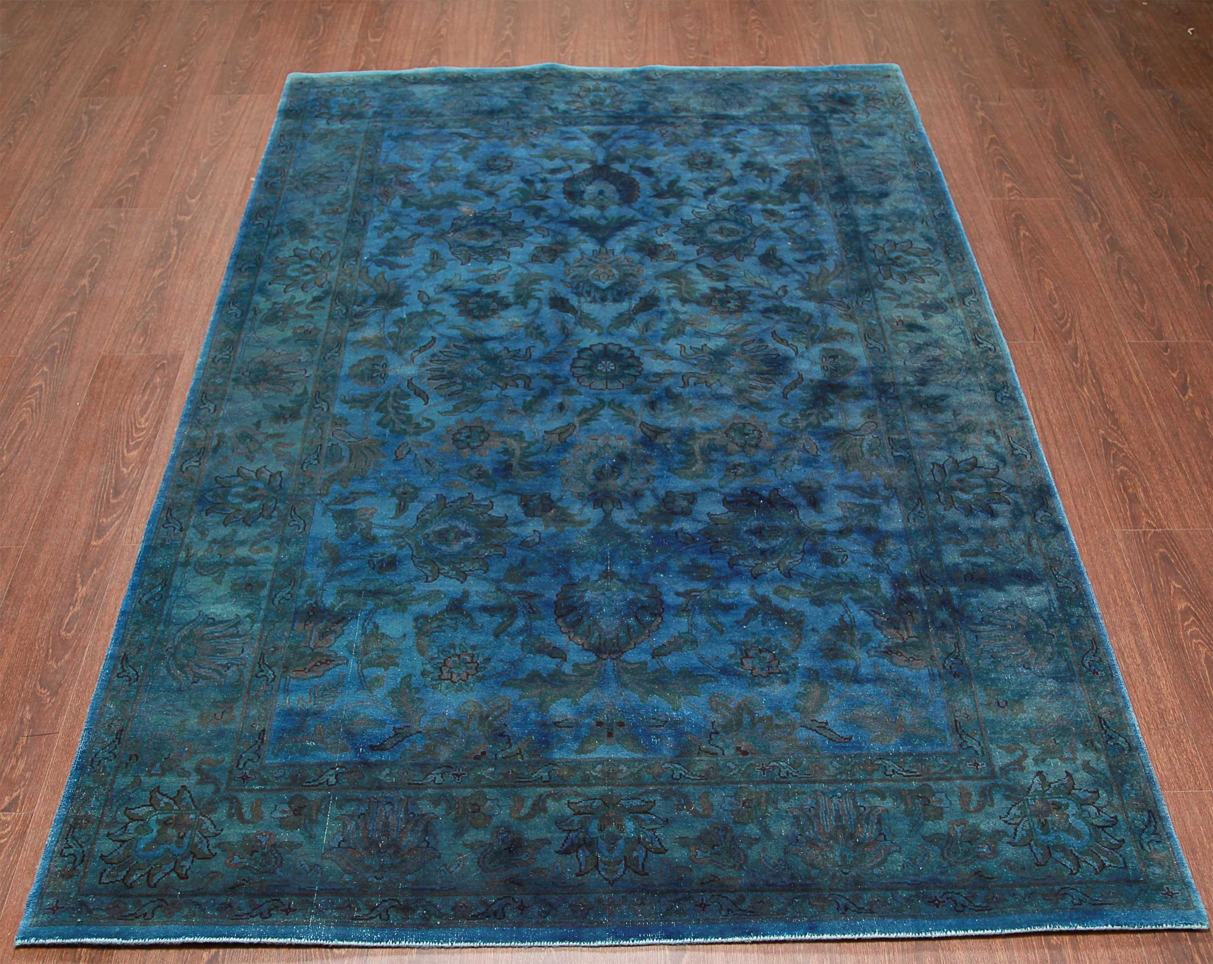 Rugsville Traditional Overdyed Light Blue Wool Rug
