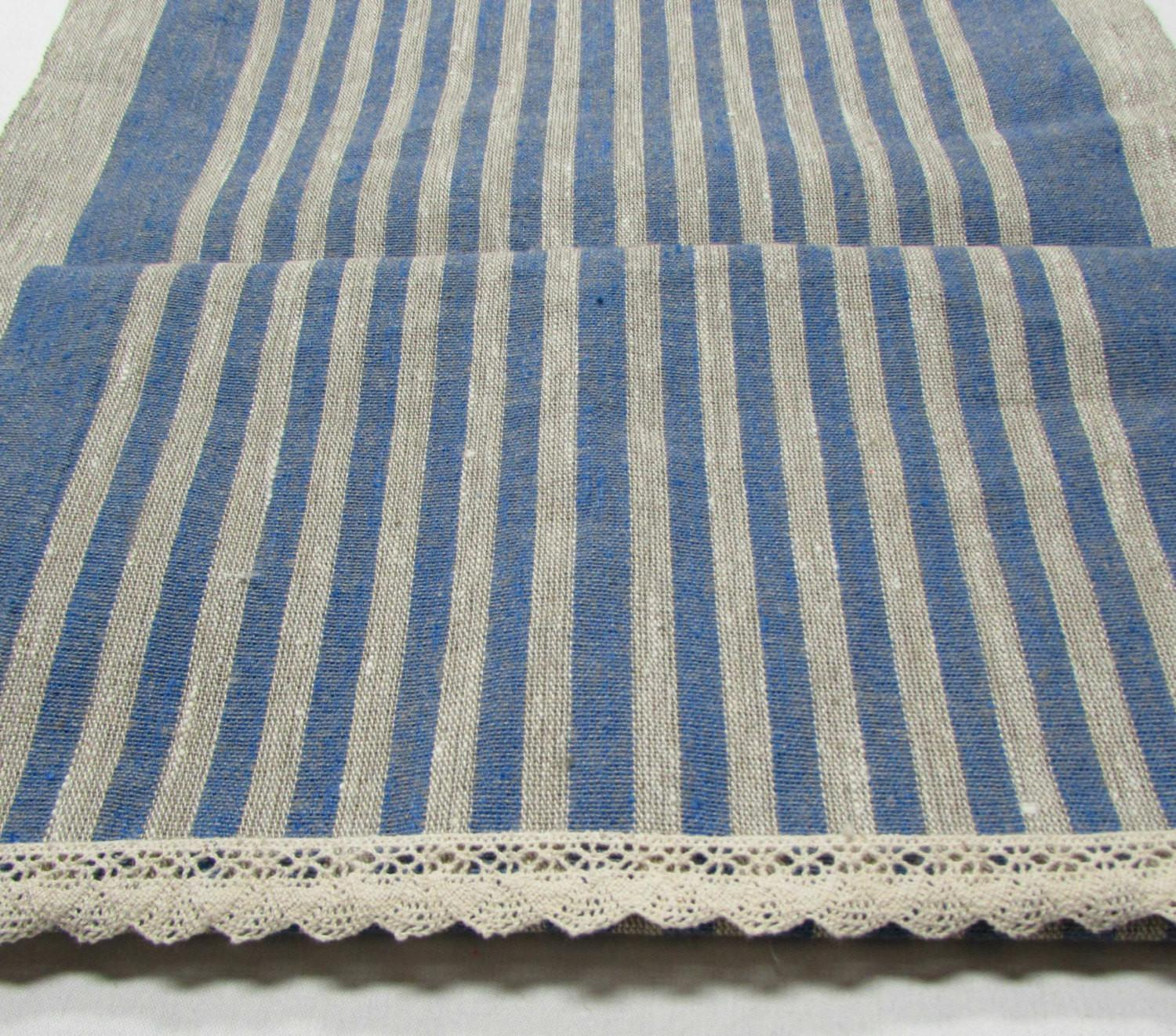 Rustic 100 Linen Table Runner Stripe Chic Tablecloth
