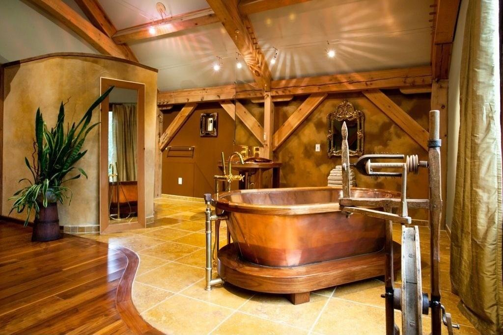 Rustic Bathroom Designs Copper Bathtub