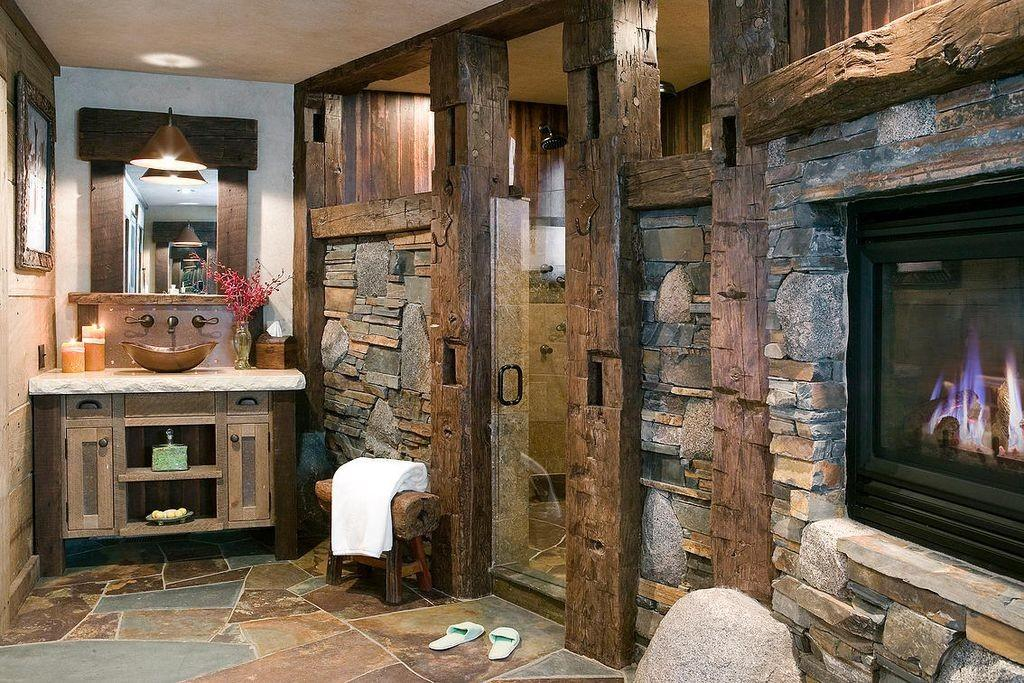 Rustic Bathroom European Cabinets High Camp