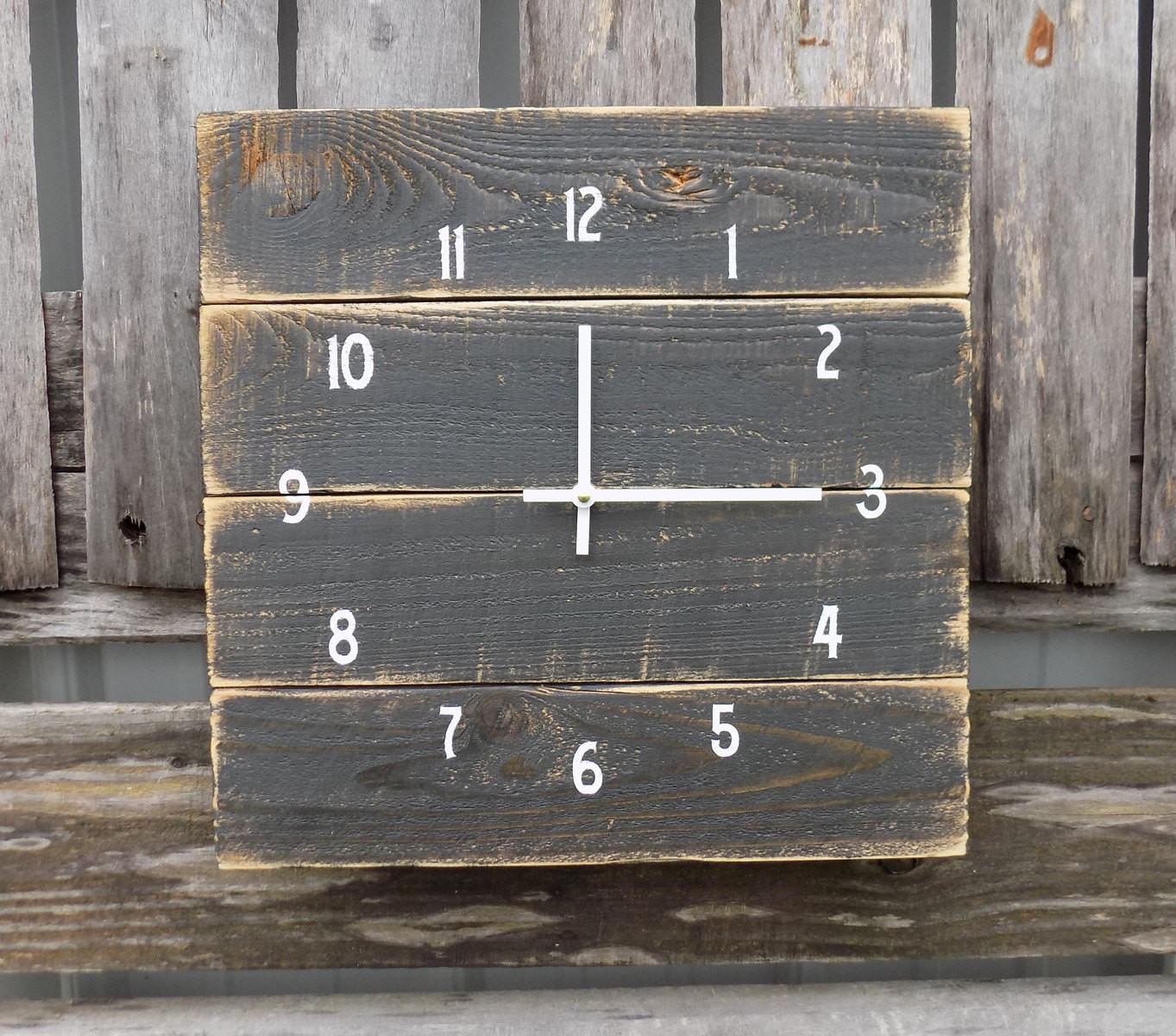 Rustic Black Pallet Clock White Wood