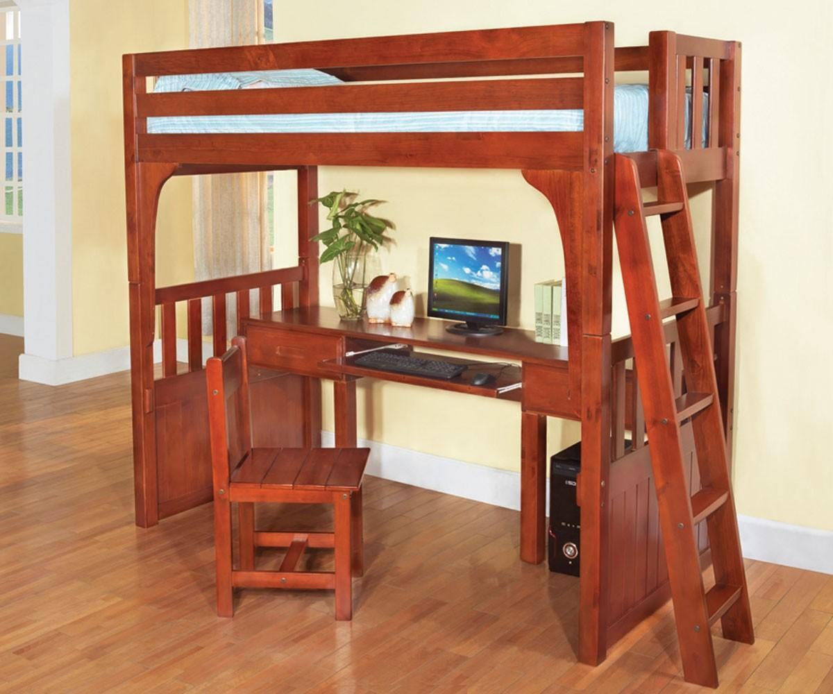 Rustic Brown Lacquered Oak Wood Loft Bed Computer