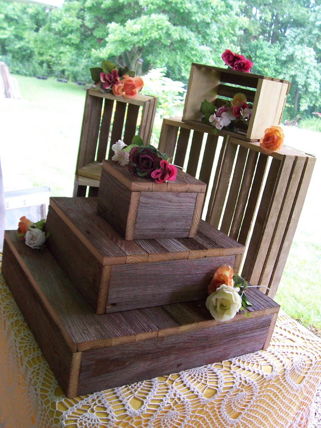Rustic Cake Stands Bundle Crates Cupcake Stand Wedding