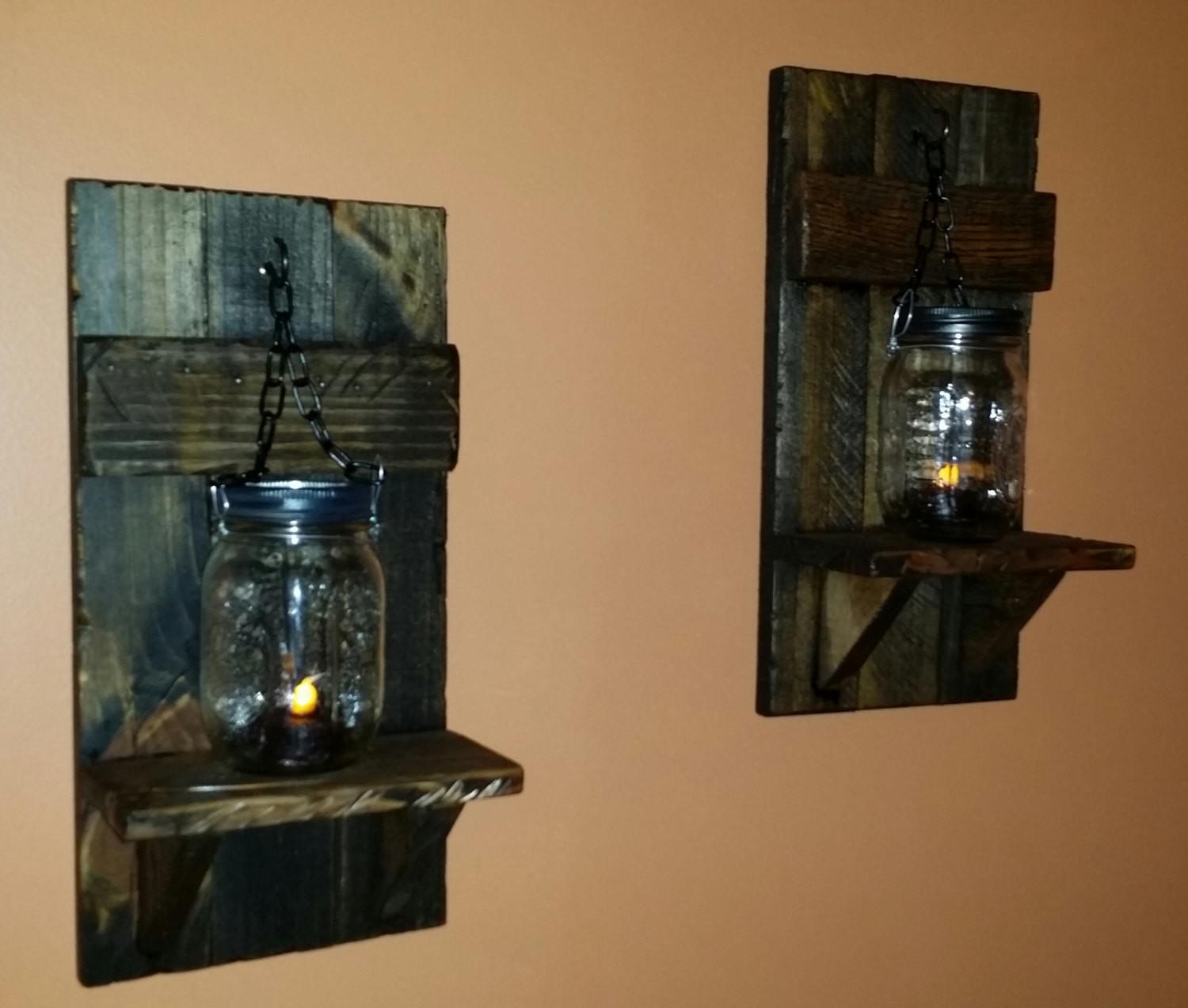 Rustic Candle Holder Mason Jar Wall Holders Country