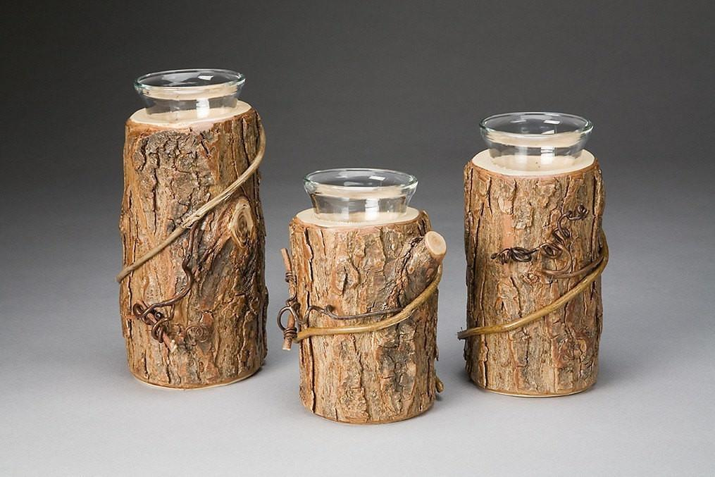 Rustic Candle Holder Trio