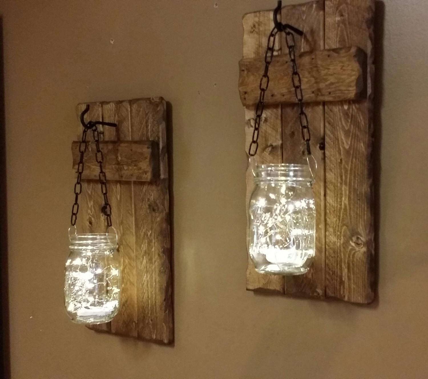 Rustic Candle Holders Hanging Mason Jars Set Sconces
