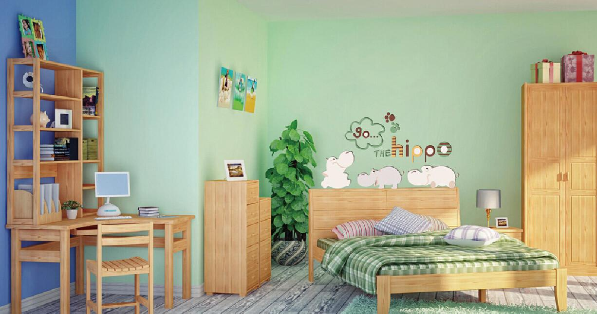 Rustic Children Bedroom Combo Solid Wood Furniture