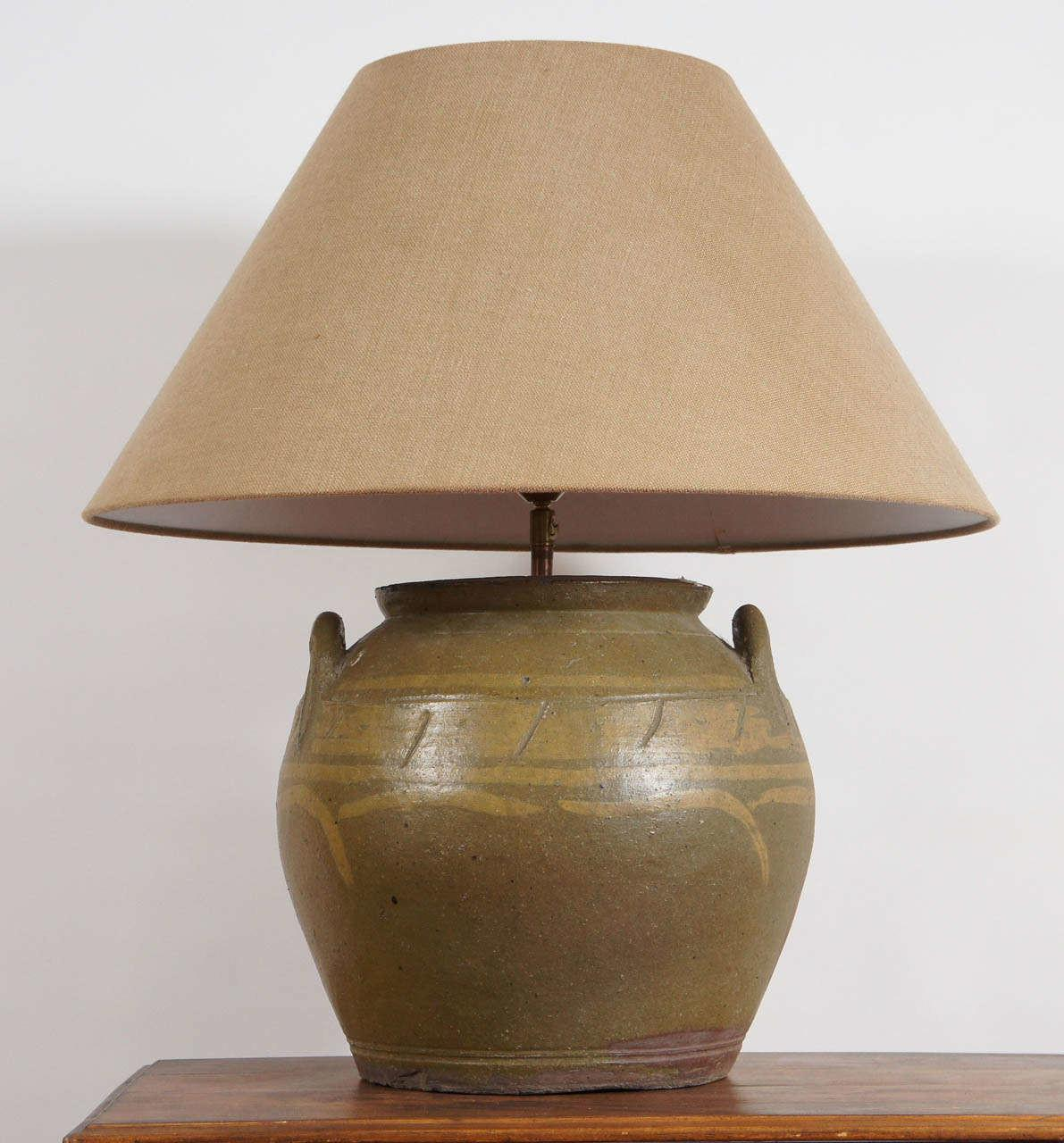 Rustic Chinese Earthen Ware Pottery Lamp Sale 1stdibs