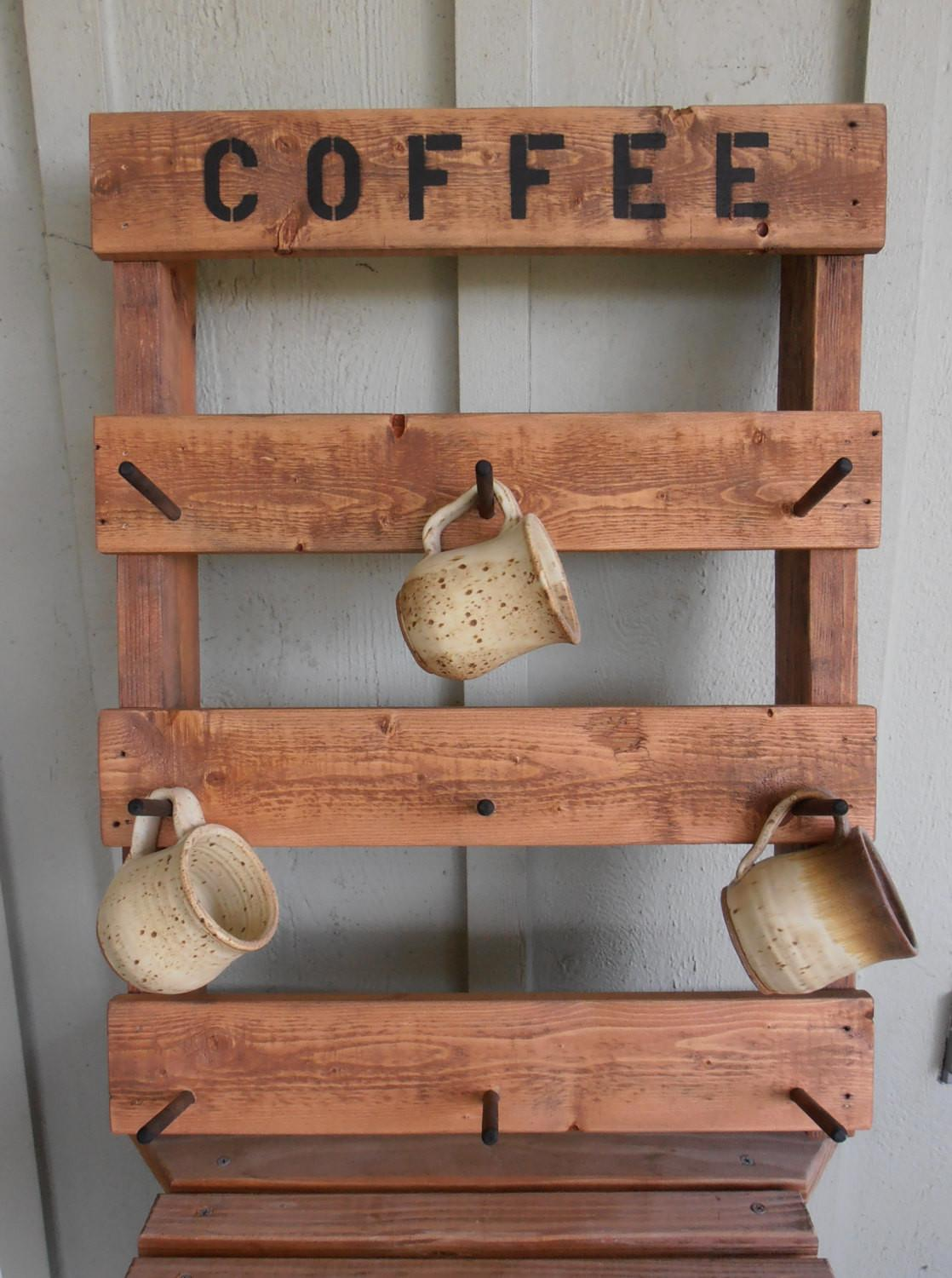 Rustic Coffee Mug Rack Made Pallet Wood Wilewood