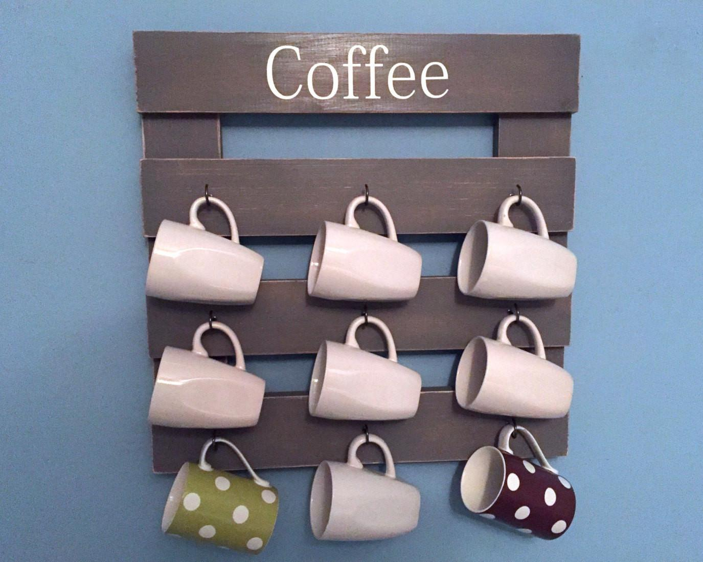 Rustic Coffee Rack Mug Holder Cup Display