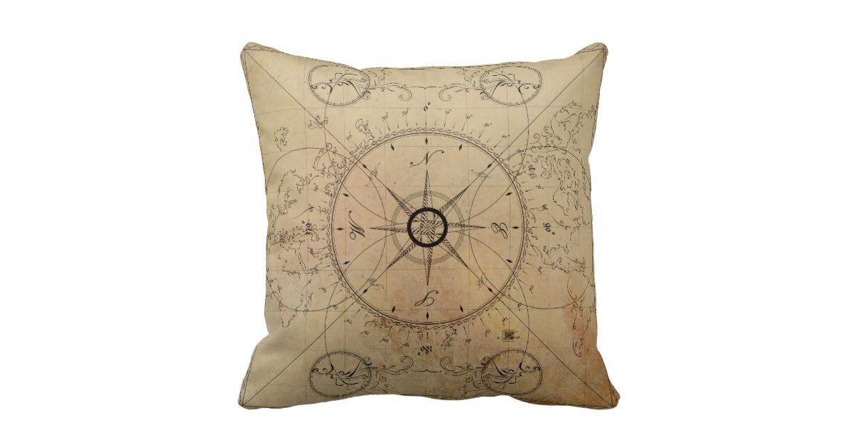 Rustic Compass Throw Pillow Zazzle
