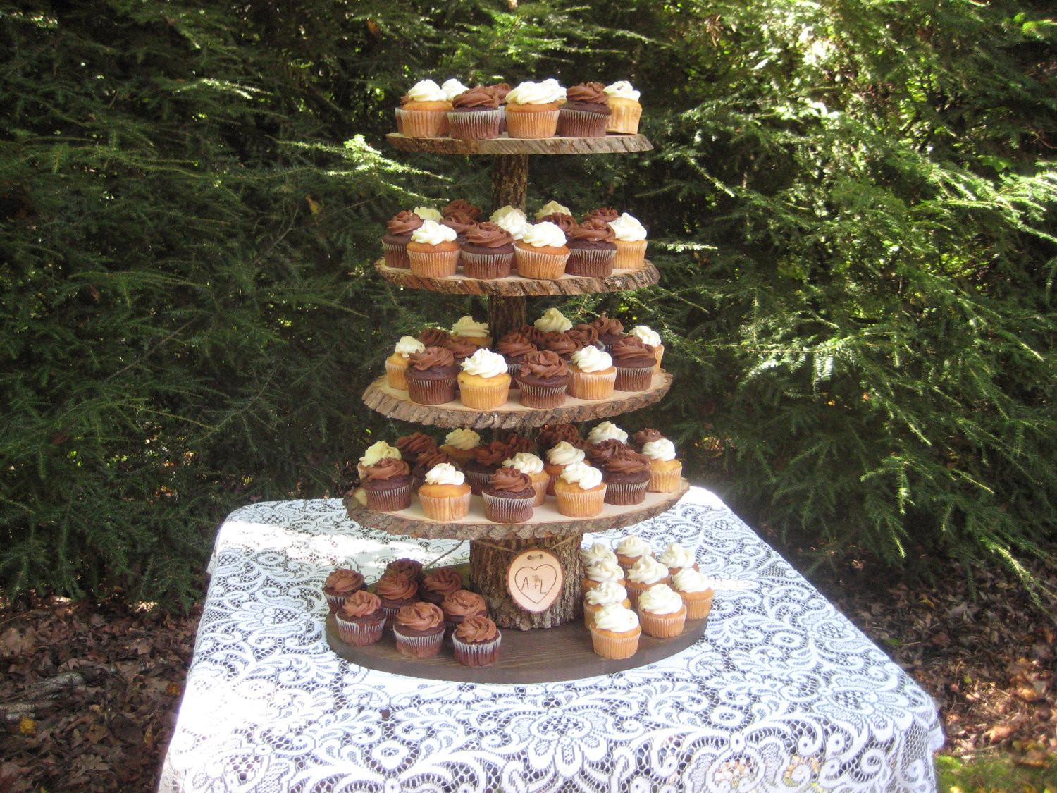 Rustic Cupcake Stand Wedding Wood Dessert Bar Tier Large