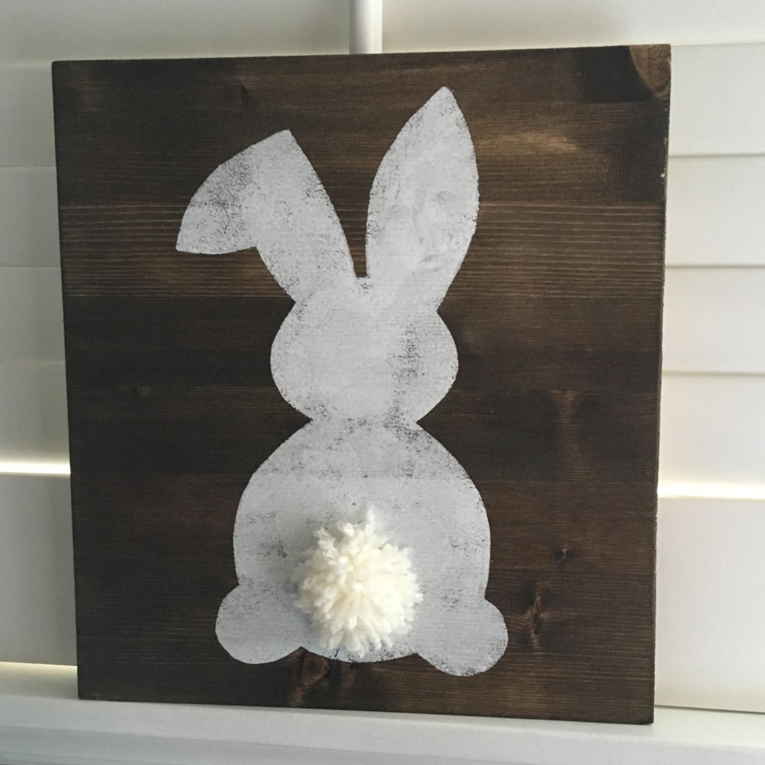 Rustic Easter Bunny Sign Spring