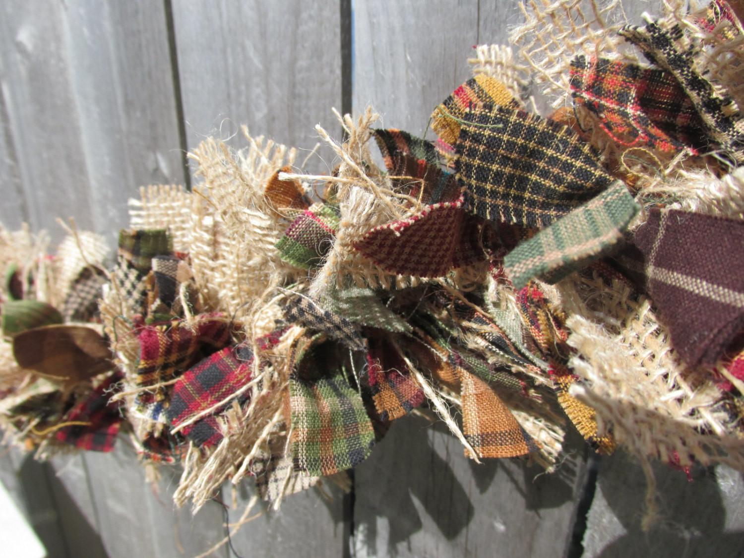 Rustic Fall Garland Burlap Homespun Fabric
