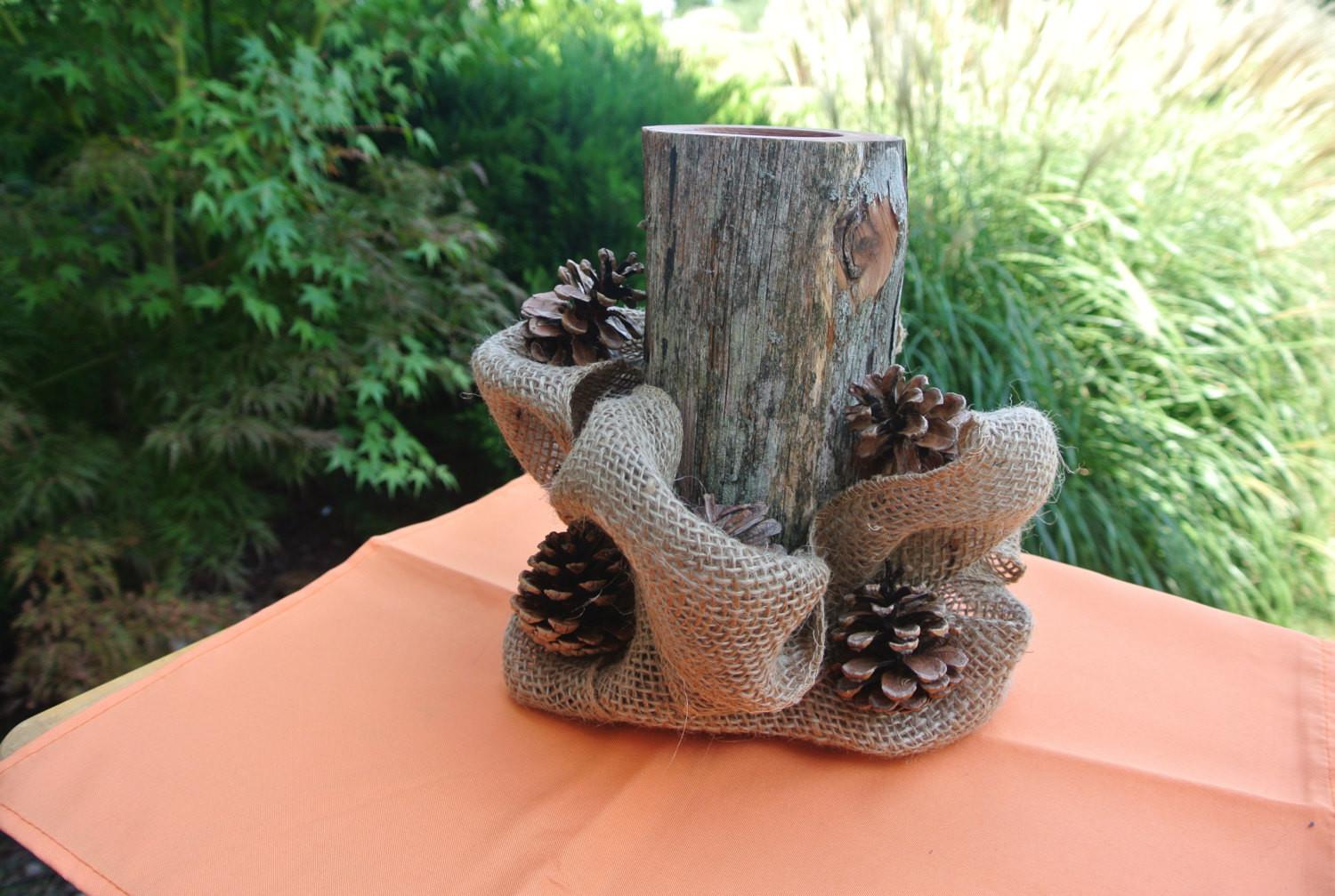 Rustic Fall Home Decor Log Candle Holder Centerpiece Burlap