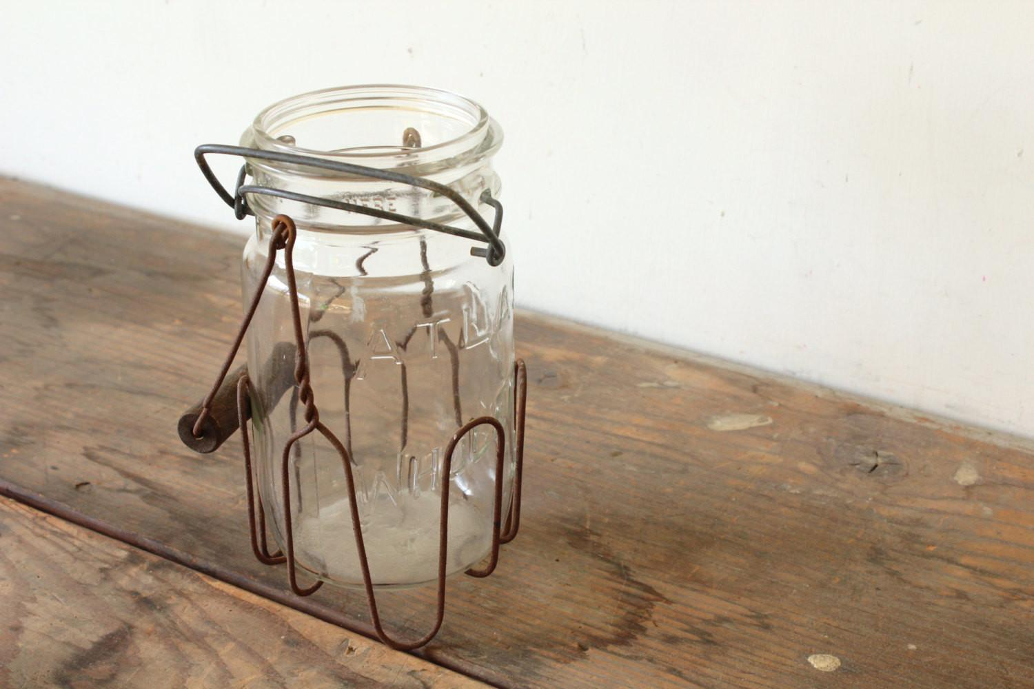Rustic Glass Candle Holder Vase Primitive Wire Jar