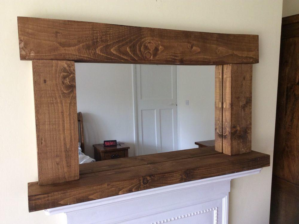 Rustic Handcrafted Chunky Reclaimed Wood Mirror Shelf