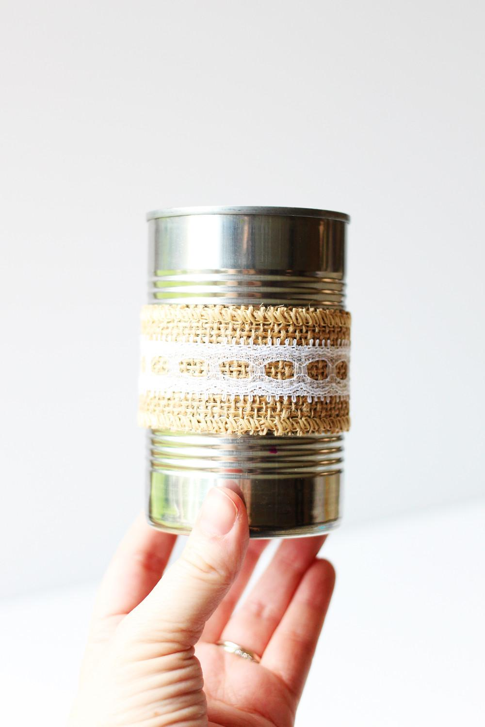 Rustic Industrial Soup Can Pencil Holder Sunny
