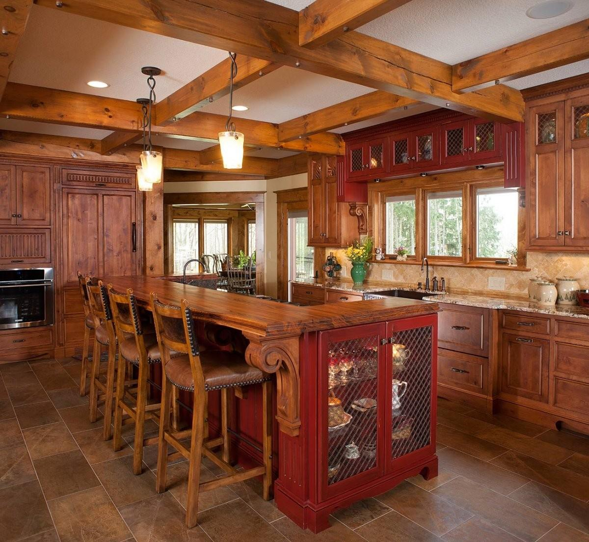 Rustic Kitchen Design Ideas Red Painted