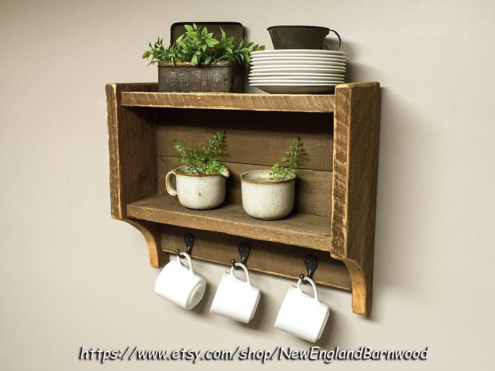 Rustic Kitchen Shelves Spice Rack Country
