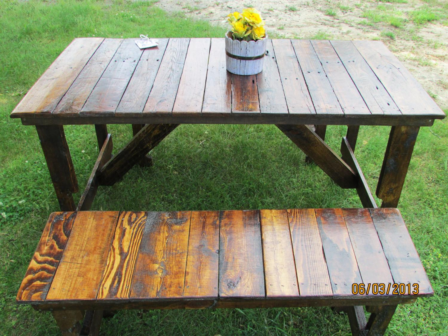 Rustic Kitchen Table Bench Set Reclaimed Wood