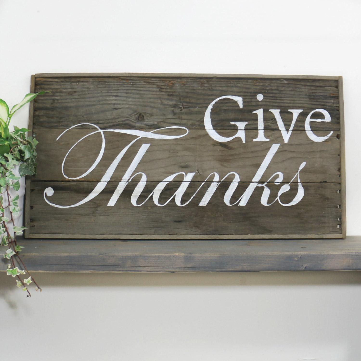 Rustic Large Barn Wood Sign Give Thanks Thanksgiving