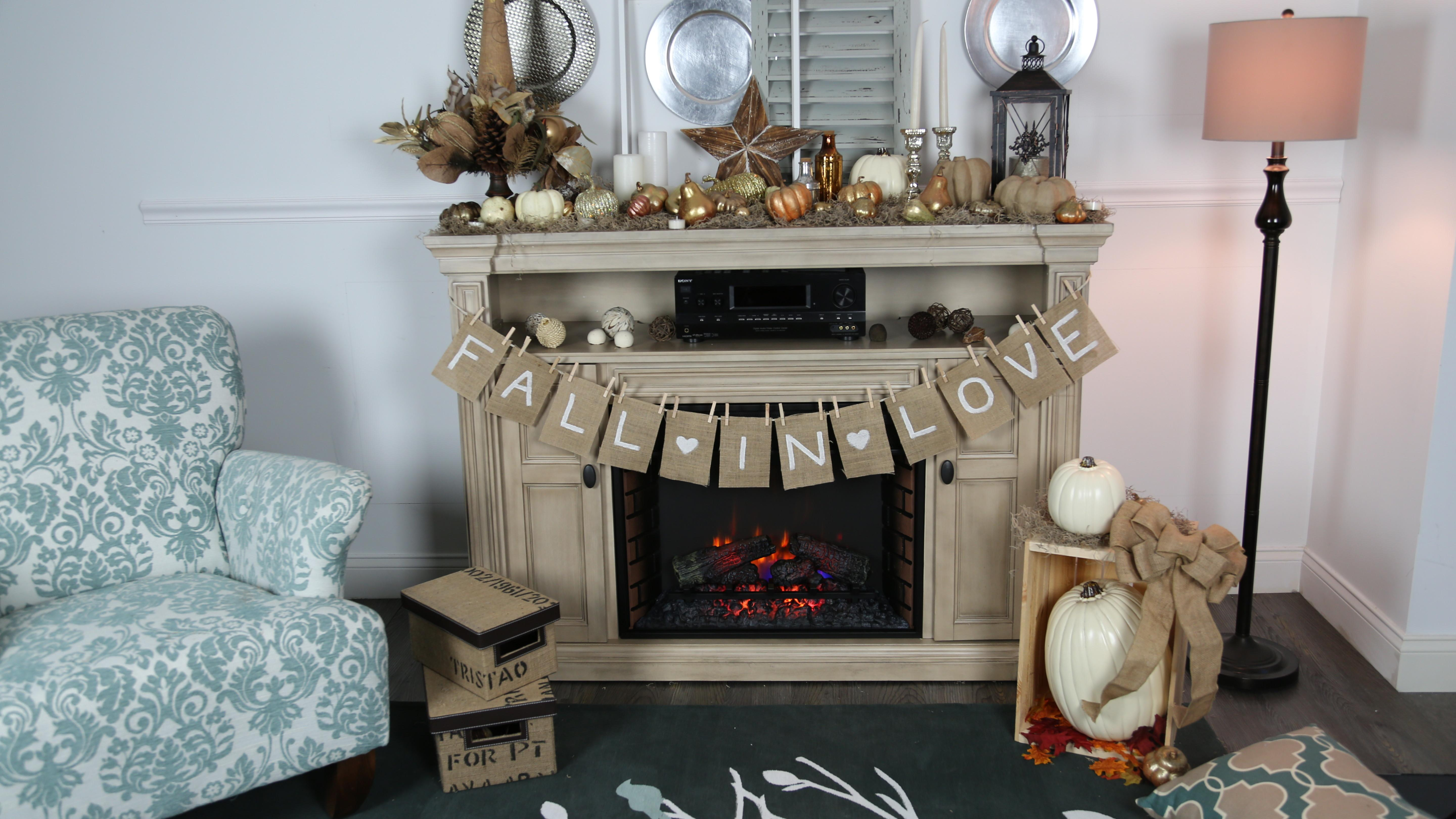 Rustic Light Grey Wooden Stand Alone Fireplace