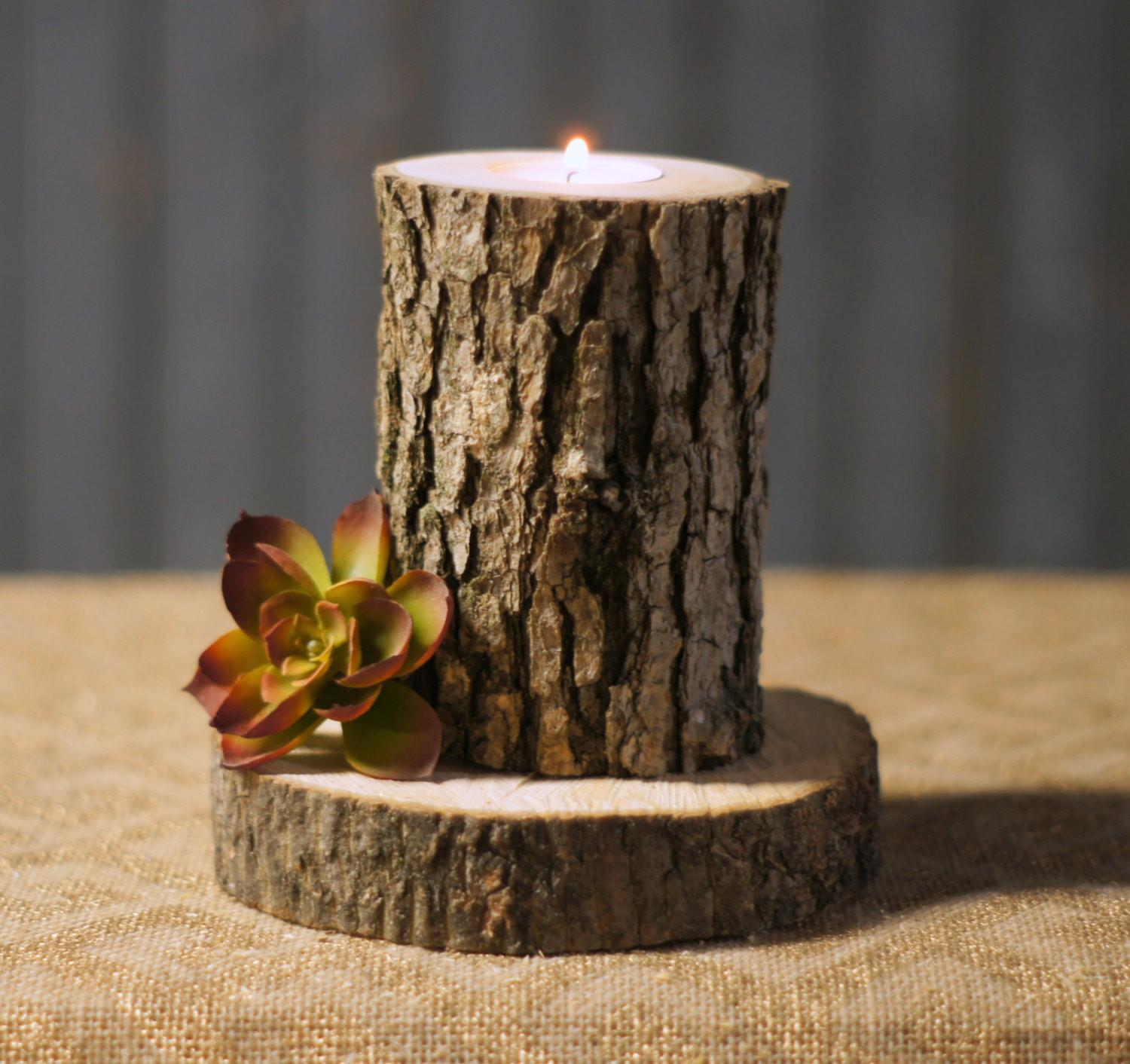 Rustic Log Candle Holder Decor Reclaimed