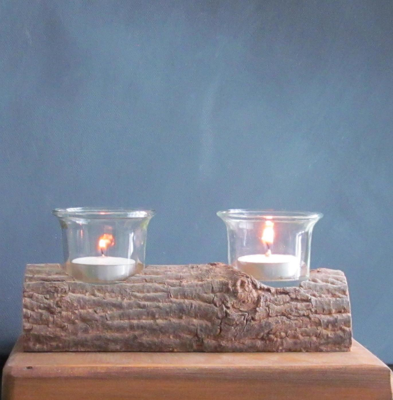 Rustic Log Candle Holder Wood Tealight
