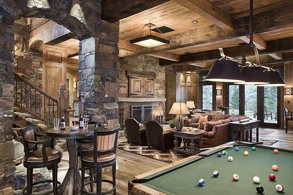 Rustic Man Cave Natural Stone Wall Exposed Beam