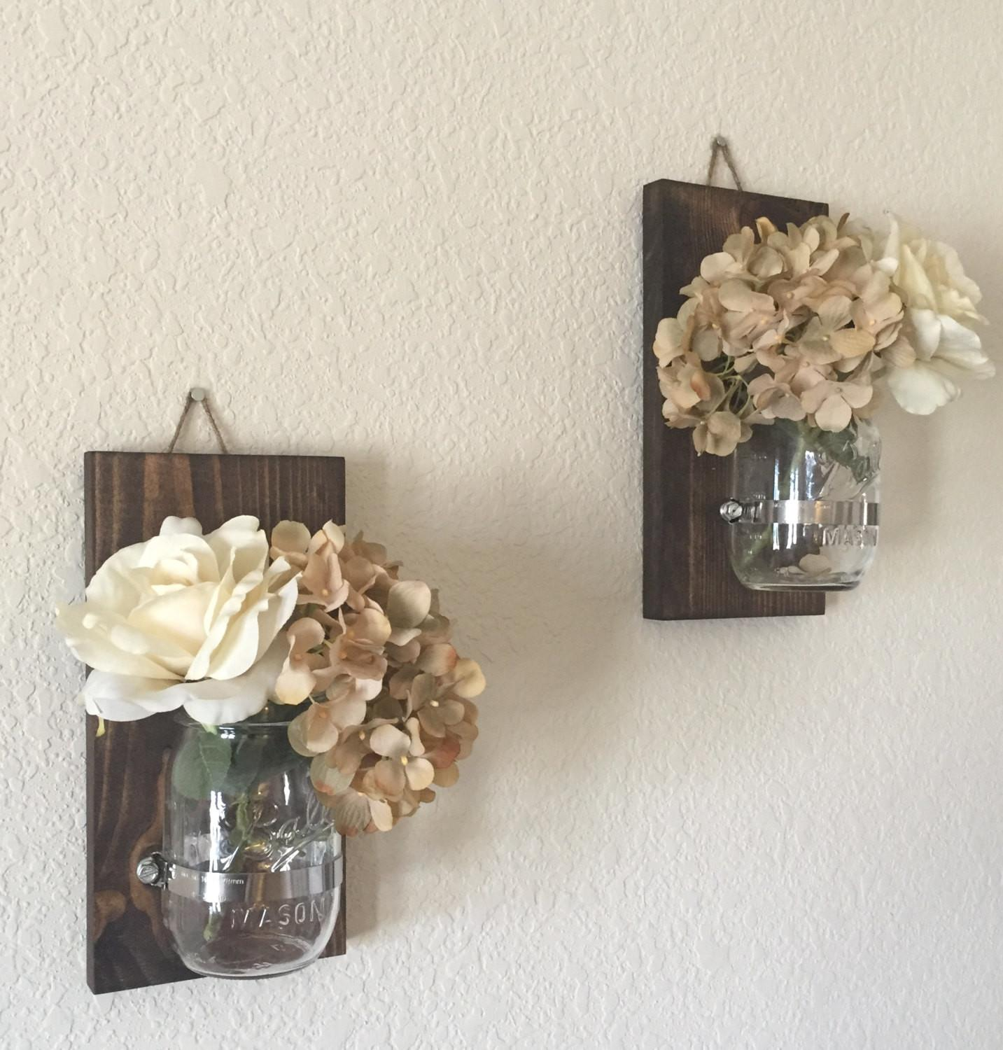 Rustic Mason Jar Sconces Candle Holders