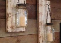 Rustic Mason Jar Wall Sconce White
