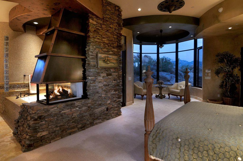 Rustic Master Bedroom Stone Wall Soloway Designs