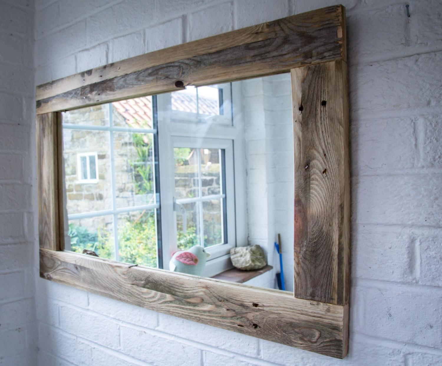 Rustic Mirror Made Reclaimed Pallet Wood