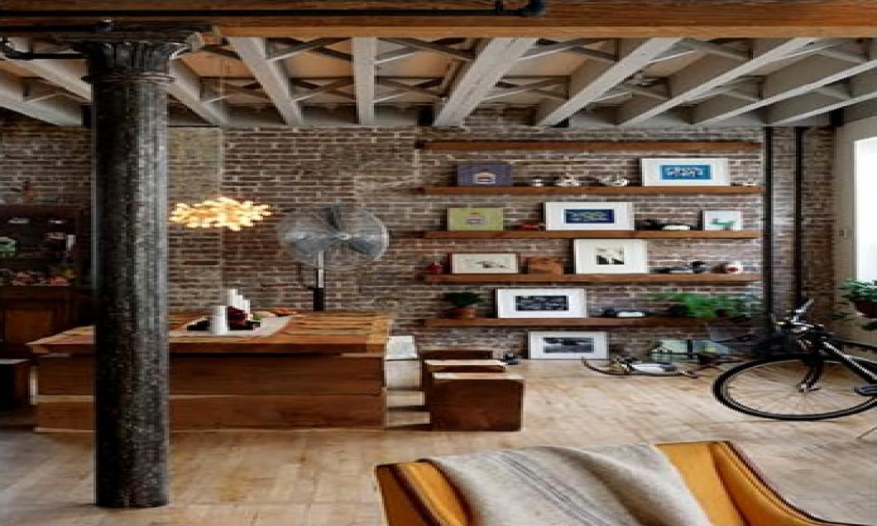 Rustic Modern Furniture Loft Exposed Brick Wall