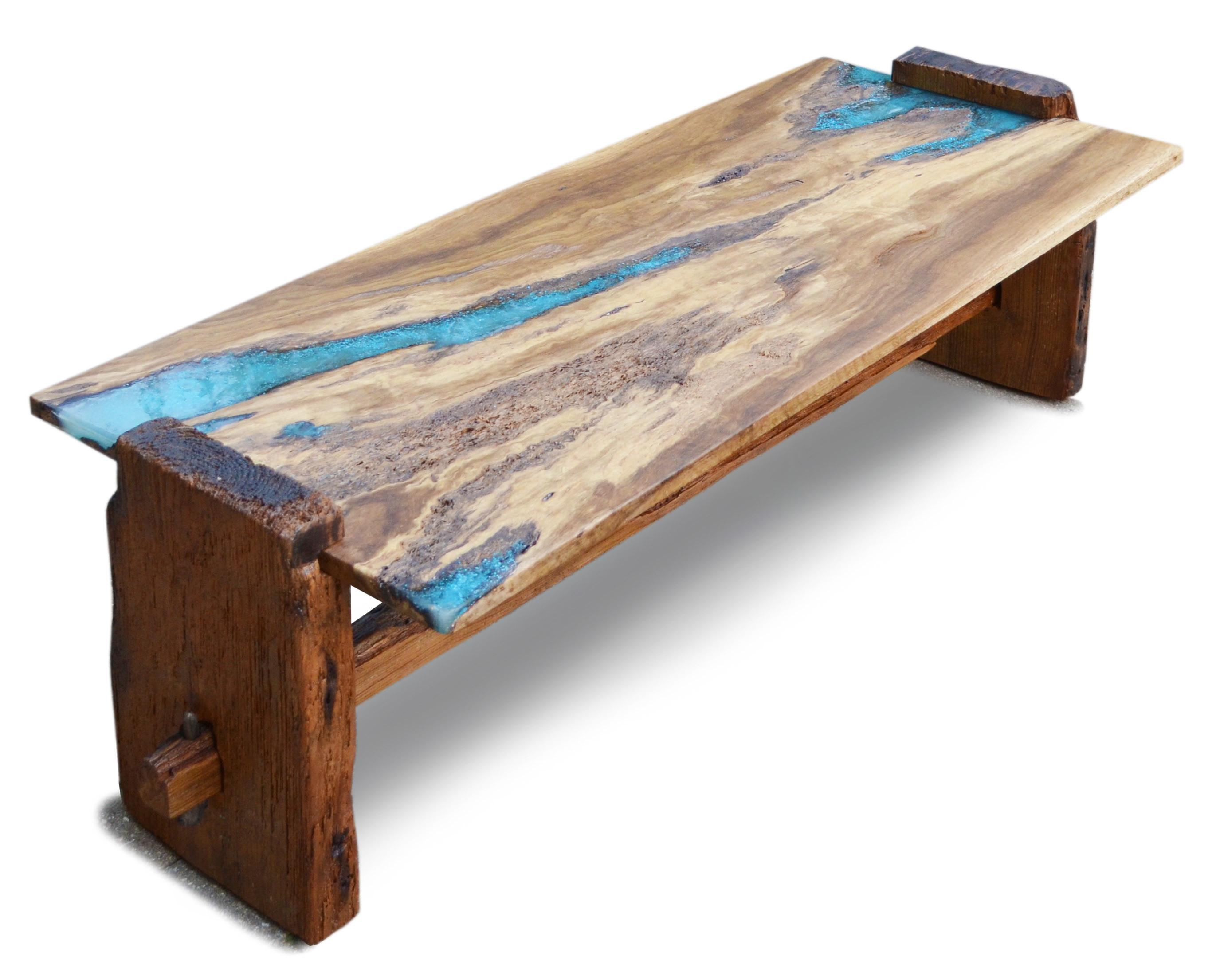 Rustic Oak Coffee Table Turquoise Inlay Abodeacious