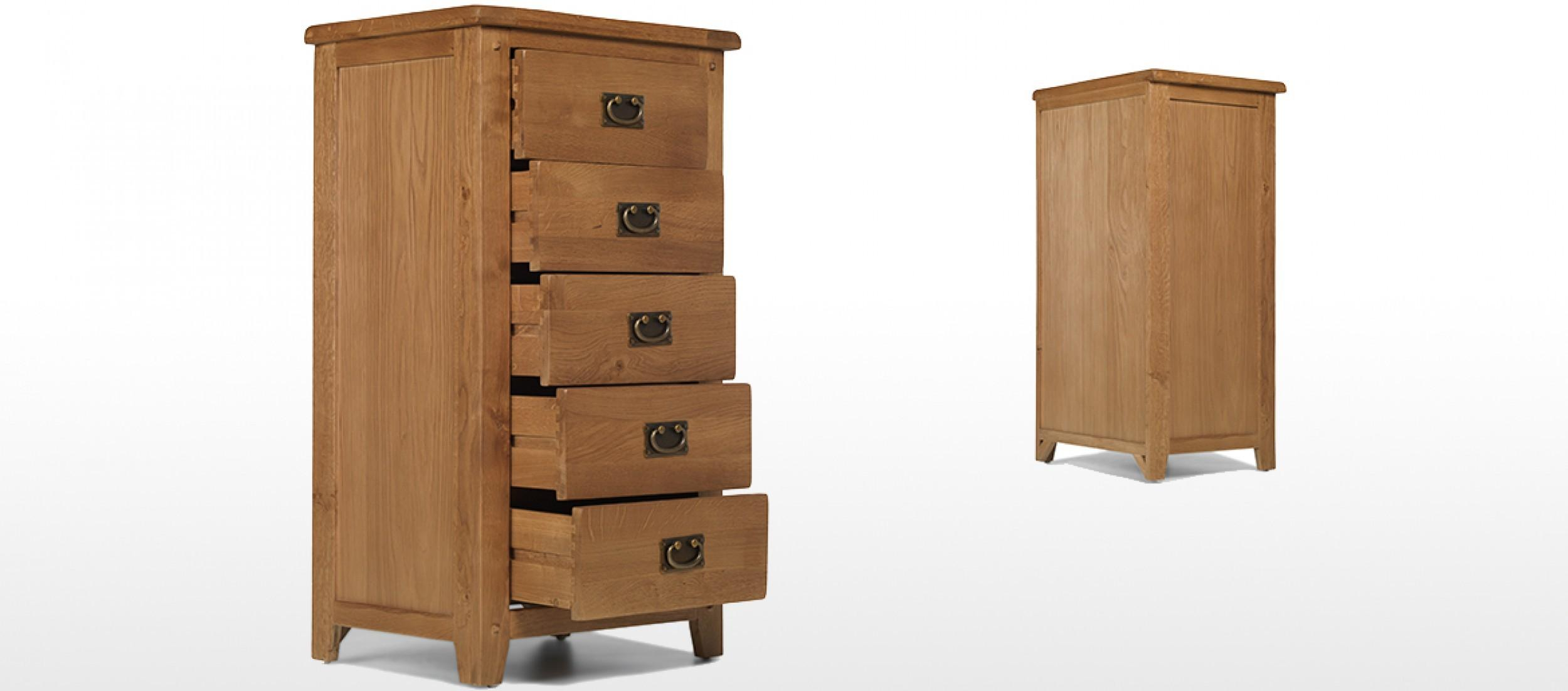 Rustic Oak Drawer Tall Chest Drawers Quercus Living