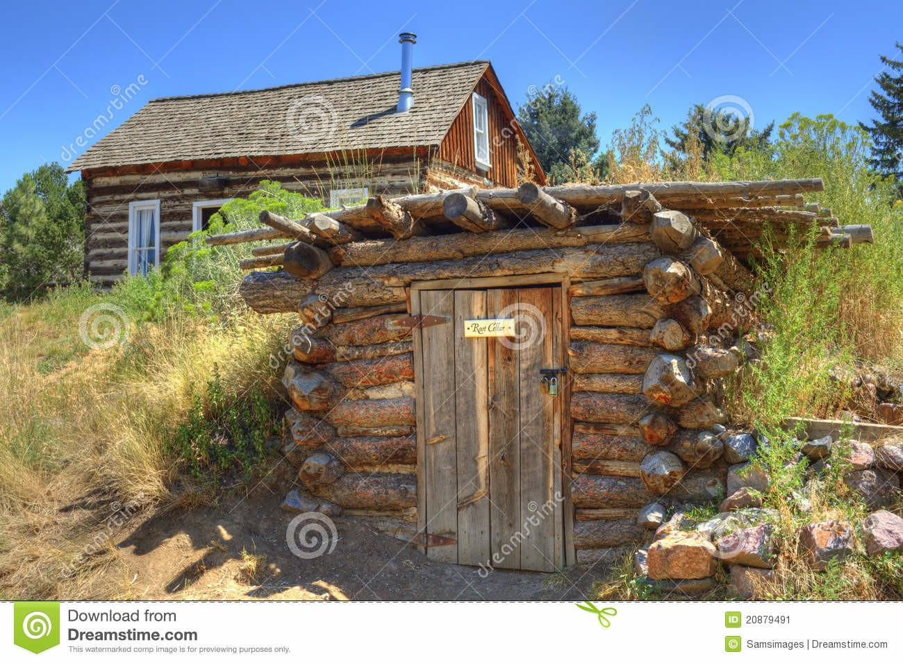 Rustic Old Time Log Cabin Root Cellar Stock