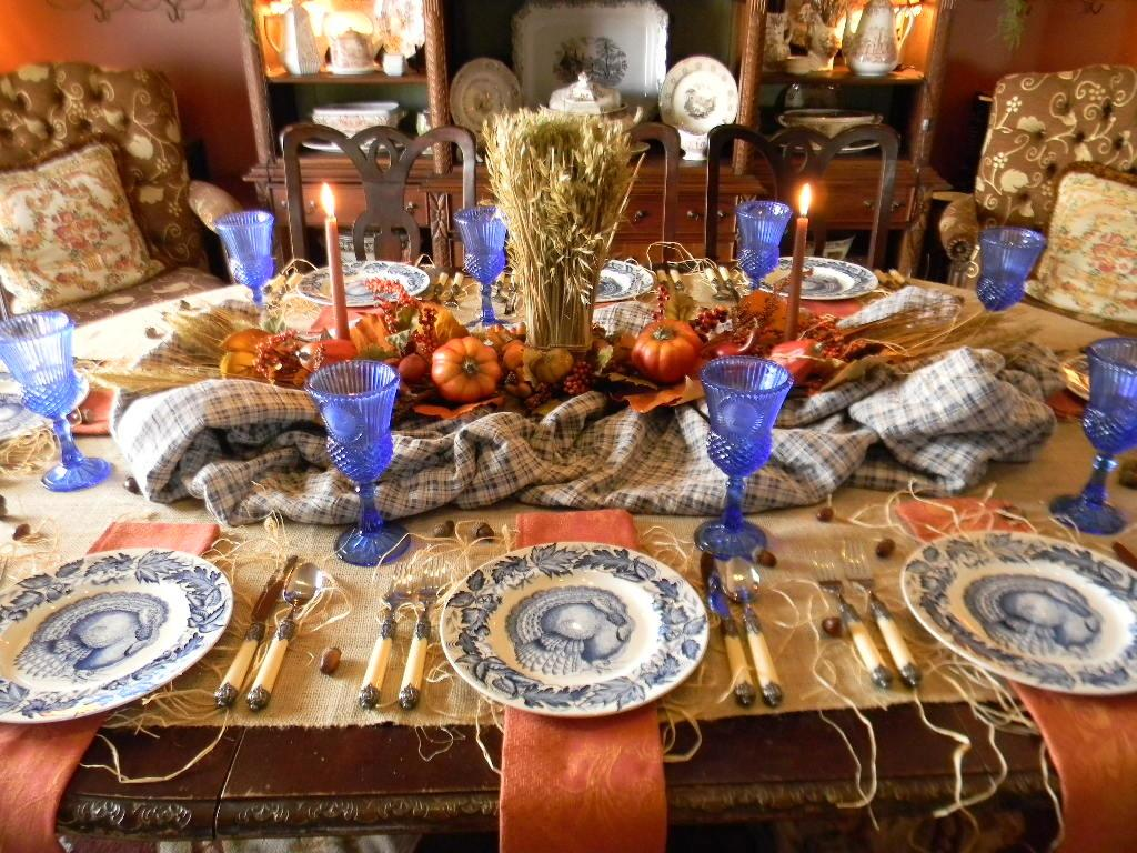 Rustic Orange Blue Thanksgiving Tablescape